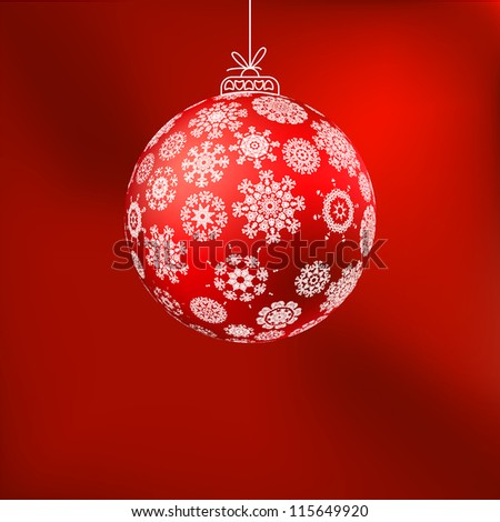 ?hristmas background with red ball. And also includes EPS 8 vector - stock vector