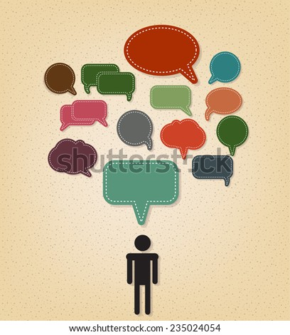 human and text balloon Vector speech bubble icons on vintage style  - stock vector