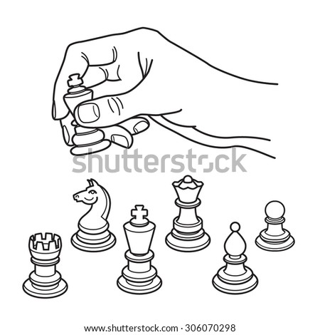 Human hand holding chess figure. Icon set of chess figure/ Vector illustration. - stock vector