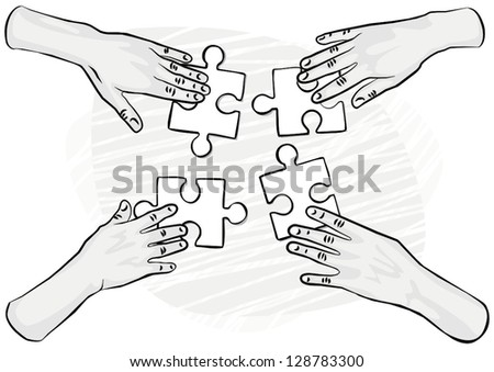 4 human hands holding pieces of puzzle monochrome vector illustration