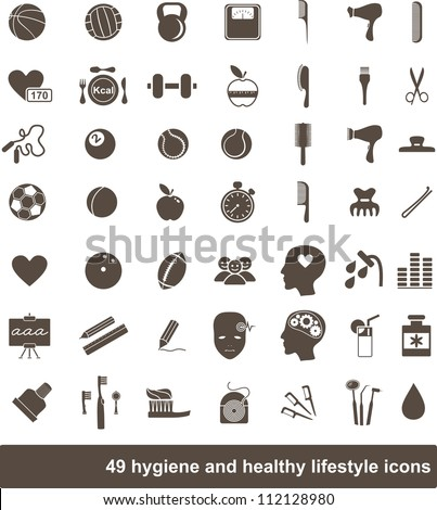 49 hygiene and healthy lifestyle icons - stock vector