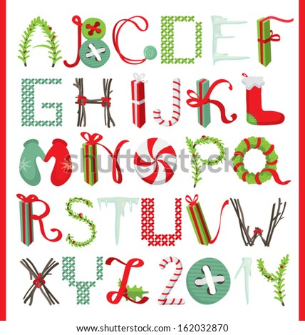 """I wish you a Merry Christmas and a happy New Year"" alphabet - stock vector"