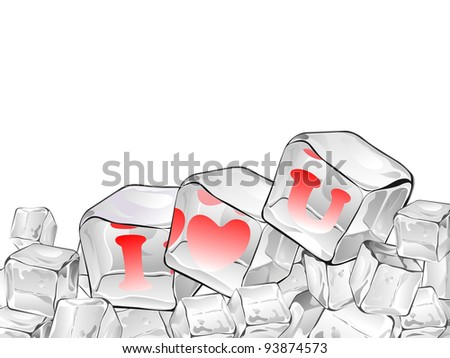 Ice cube isolate with red heart  having text in red color - stock vector