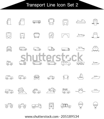 Icon line Transportation set 2  - stock vector