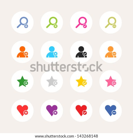 16 icon loupe, user profile, star favorite, heart bookmark icon with plus, delete, check mark and minus sign. Color on white. Set 07. Circle internet button on background. Vector illustration 8 eps - stock vector