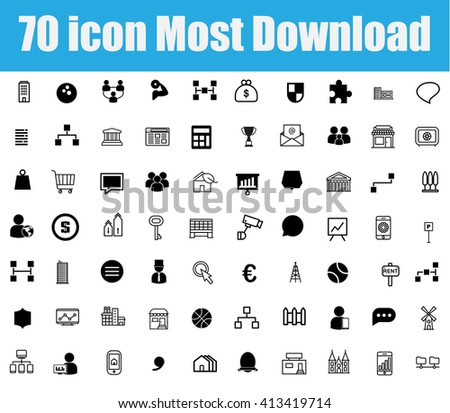 70 icon most download on white background