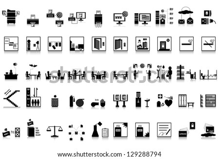 50 icon office, industry - stock vector