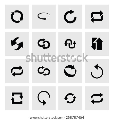 16 icon set of refresh, reload, loader arrow. black icons on white background. Tidy, clean, simple, minimal, solid, plain style. Vector illustration web internet design element - stock vector