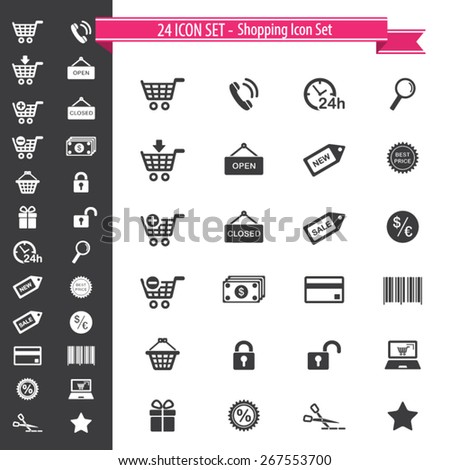 24 Icon Set - Shopping Icons - stock vector