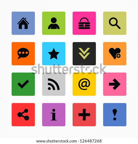 16 icon with basic sign. Black on color. Simple rounded square shape internet button. Solid plain mono one-color flat minimal metro style tile. Vector illustration web design elements 8 eps - stock vector