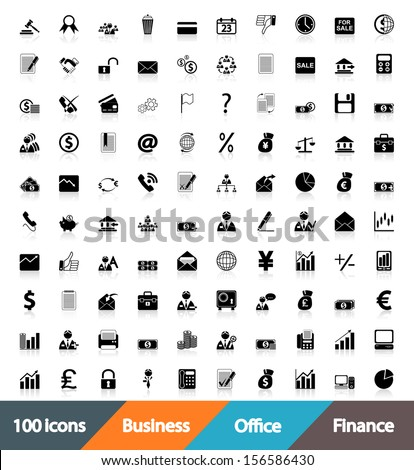 100 icons Business, Office & Finance. Vector Illustration. - stock vector