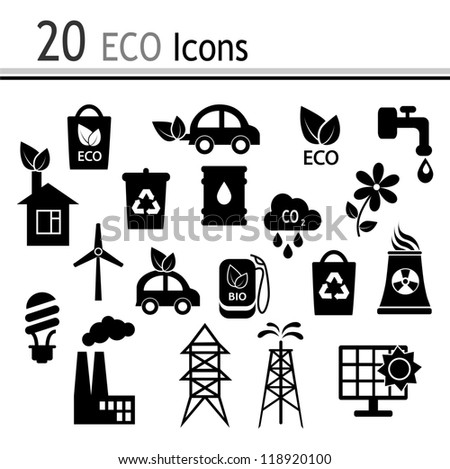 20 Icons - ecology and industry(Vector) - stock vector