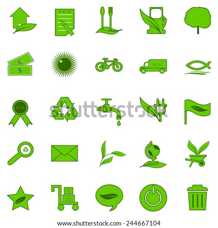 icons ecology of green color for a design web