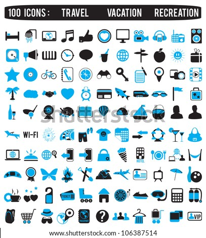 100 icons for travel vacation recreation - vector icon - stock vector