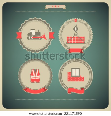 4 icons from Construction Industry theme, from left to right, top to bottom -  Bulldozer, Crane, Safety vest, Building wall.  - stock vector