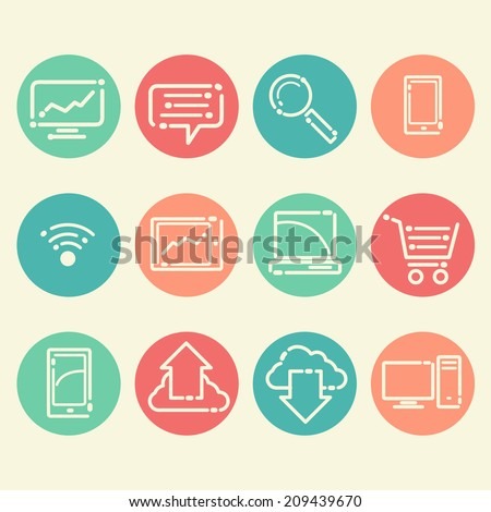 12 icons in a fresh, new style  - stock vector