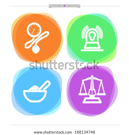 "4 icons in ""Healthcare"" from left to right -  Aneroid sphygmomanometer (Blood Pressure Gauge), Emergency vehicle lighting, Mortar and pestle, Pharmacy Scale. - stock vector"