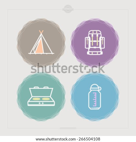 4 icons in relations to summer outdoor activity, pictured here from left to right, top to bottom -  Tipi, Backpack, Camp stove, Bottle cage.  - stock vector
