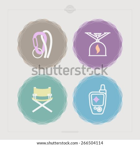 4 icons in relations to summer outdoor activity, pictured here from left to right, top to bottom -  Locking carabiner, Camping stove, Folding chair, GPS mobile positioning.  - stock vector