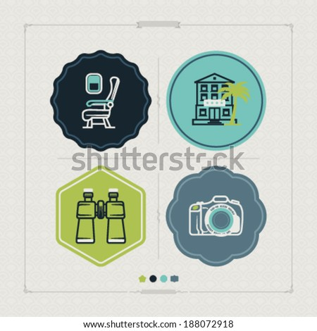4 icons in relations to summer vacation time - stock vector