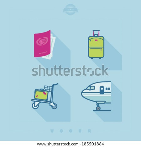 4 icons in relations to summer vacation time, pictured here from left to right, top to bottom - Airplane seat, Hotel, Binoculars, Photo Camera.  - stock vector
