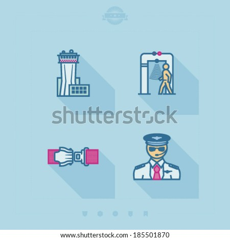 4 icons in relations to summer vacation time, pictured here from left to right, top to bottom -  Air traffic control tower, Security scanner, Scale, Plane seat.  - stock vector