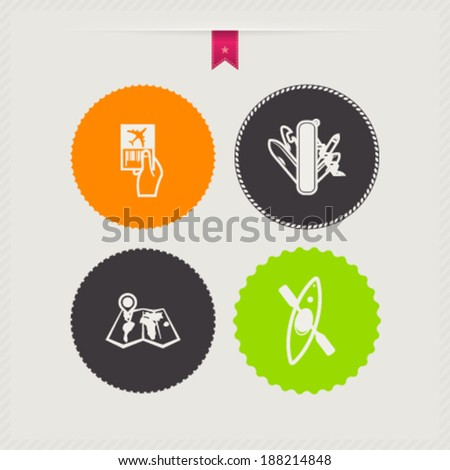 4 icons in relations to summer vacation time, pictured here from left to right, top to bottom - Ticket, Swiss army knife, Map, Kayak.  - stock vector