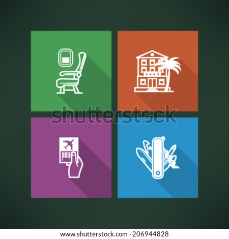 4 icons in relations to summer vacation time, pictured here from left to right, top to bottom - Airplane seat, Hotel, Ticket, Swiss army knife.  - stock vector