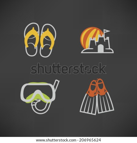 4 icons in relations to summer vacation time, pictured here from left to right, top to bottom - Flip-flops, Sand castle and beach ball, Diving mask and snorkel, Diving flippers.  - stock vector