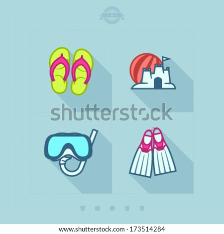 4 icons in relations to summer vacation time, pictured here from left to right, top to bottom: Flip-flops, Sand castle and beach ball, Diving mask and snorkel, Diving flippers.