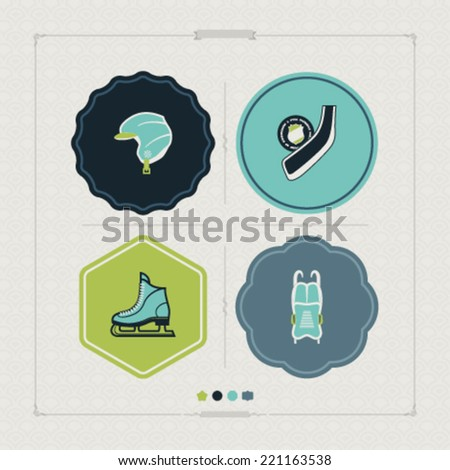 4 icons (objects) to show different kind of winter sports. Pictured here left to right, top to bottom -  Snowboard helmet, Ice hockey stick & flat puck, Ice skates, Luge. - stock vector