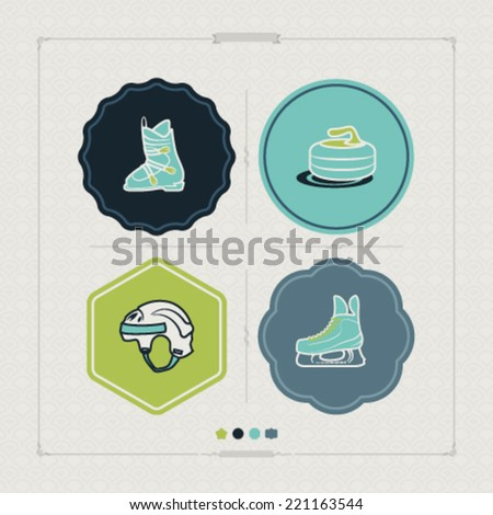 4 icons (objects) to show different kind of winter sports. Pictured here left to right, top to bottom - Ski boot, Curling, Hockey helmet, Ice skate. - stock vector