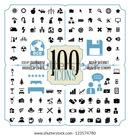 100 Icons of Holidays and Traveling, Business and Economy, Web and Internet, Ecology and Environment - stock vector