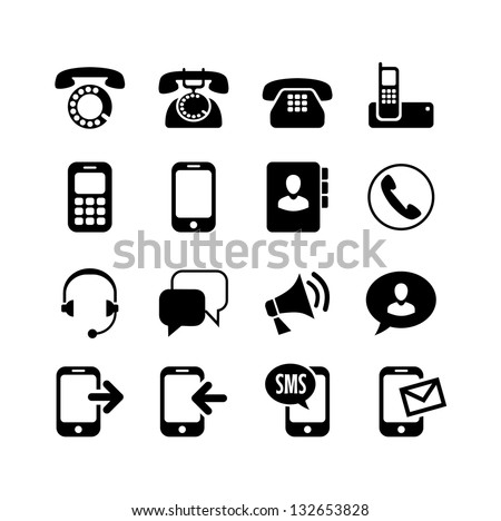 16 icons set - communication, call, phone - stock vector