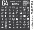 64  icons set. Servers, network, database, data analytics . Business Graph . Computer and mobile devices. - stock vector