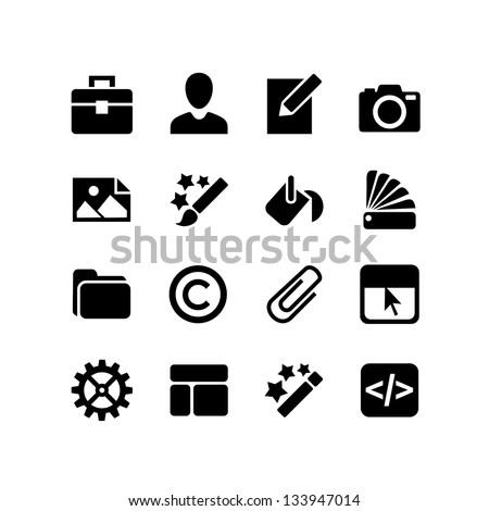 16 icons set. Web design - paint, customize, color - stock vector