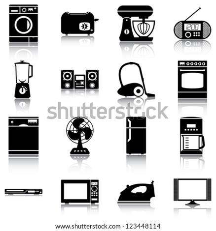 16 icons/ silhouettes of home appliances. - stock vector