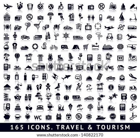 165 icons. Travel and Tourism with reflection - stock vector