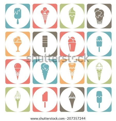 Icons with ice cream. Vector illustration.  EPS-10 (non transparent elements,non gradient)     - stock vector