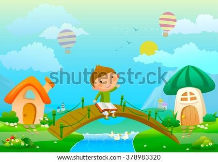 illustration about boy with book and fairy landscape vector - stock vector