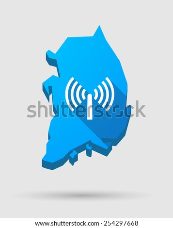 Illustration of a blue South Korea map with an antenna - stock vector