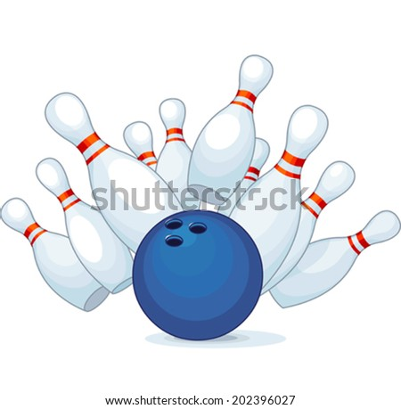 Illustration of a bowling ball strike with falling pins.