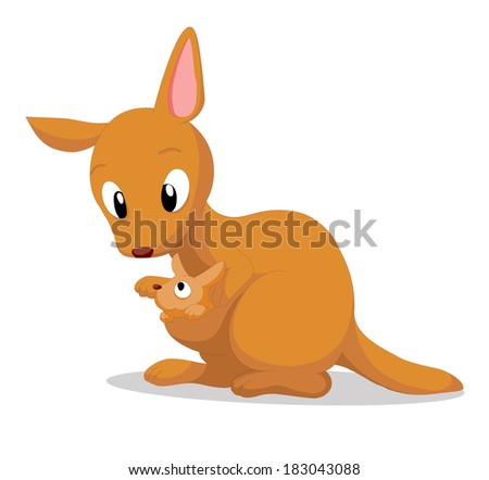 illustration of a cute kangaroo - stock vector