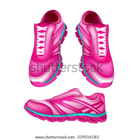 Illustration of a Pink Sports shoes and  shoes vector material