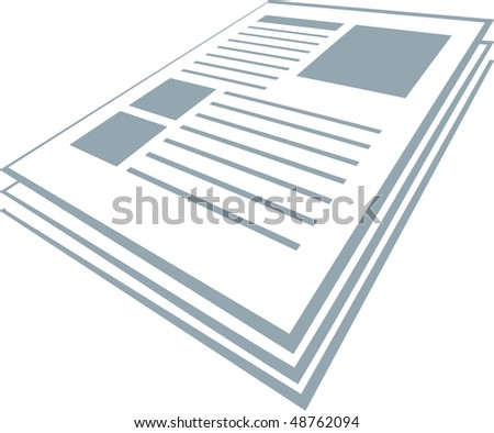 Illustration of blue colored newspaper isolated on white - stock vector