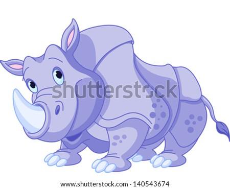 Illustration of cartoon funny  rhino - stock vector