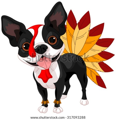 Illustration of cute Boston terrier celebrating Thanksgiving - stock vector