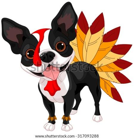Illustration of cute Boston terrier celebrating Thanksgiving - stock vector