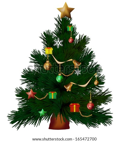 illustration of decorated Christmas tree isolated on white - stock vector