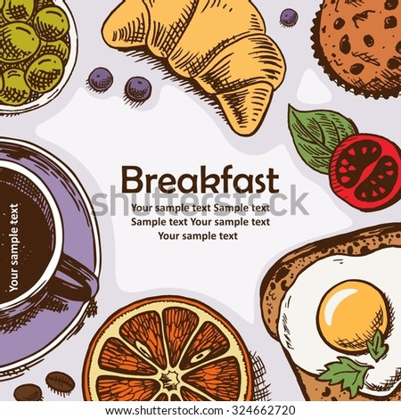 illustration of fresh and tasty breakfast - coffee, croissant, baking.
